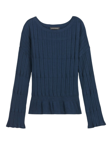 Bell-Sleeve Cropped Sweater Top in Navy