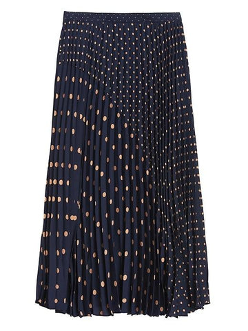 Polka Dot Pleated Midi Skirt in Navy & Beige Polka Dot