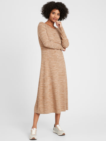 Ribbed Maxi Sweater Dress in Camel