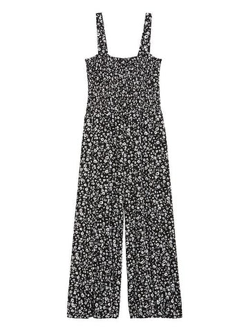 Smocked Knit Cropped Jumpsuit in Black Ditsy Floral