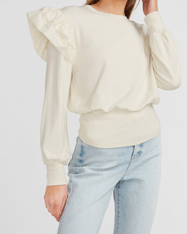 Tiered Ruffle Sleeve Sweatshirt in Swan