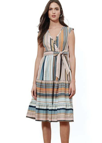 Mixed Stripe Tiered Wrap Dress