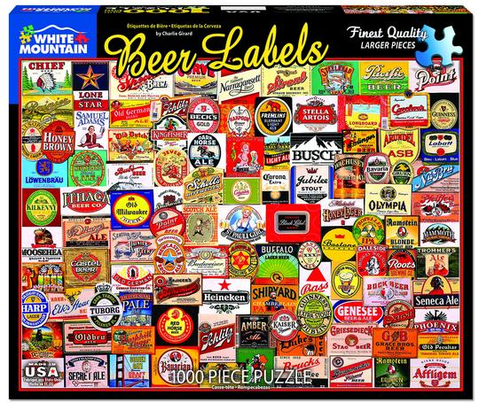 White Mountain 1000 Piece Jigsaw Puzzle - Beer Labels