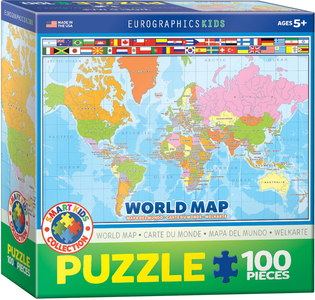 Eurographics 100 Piece Jigsaw Puzzle - Modern Map of the World