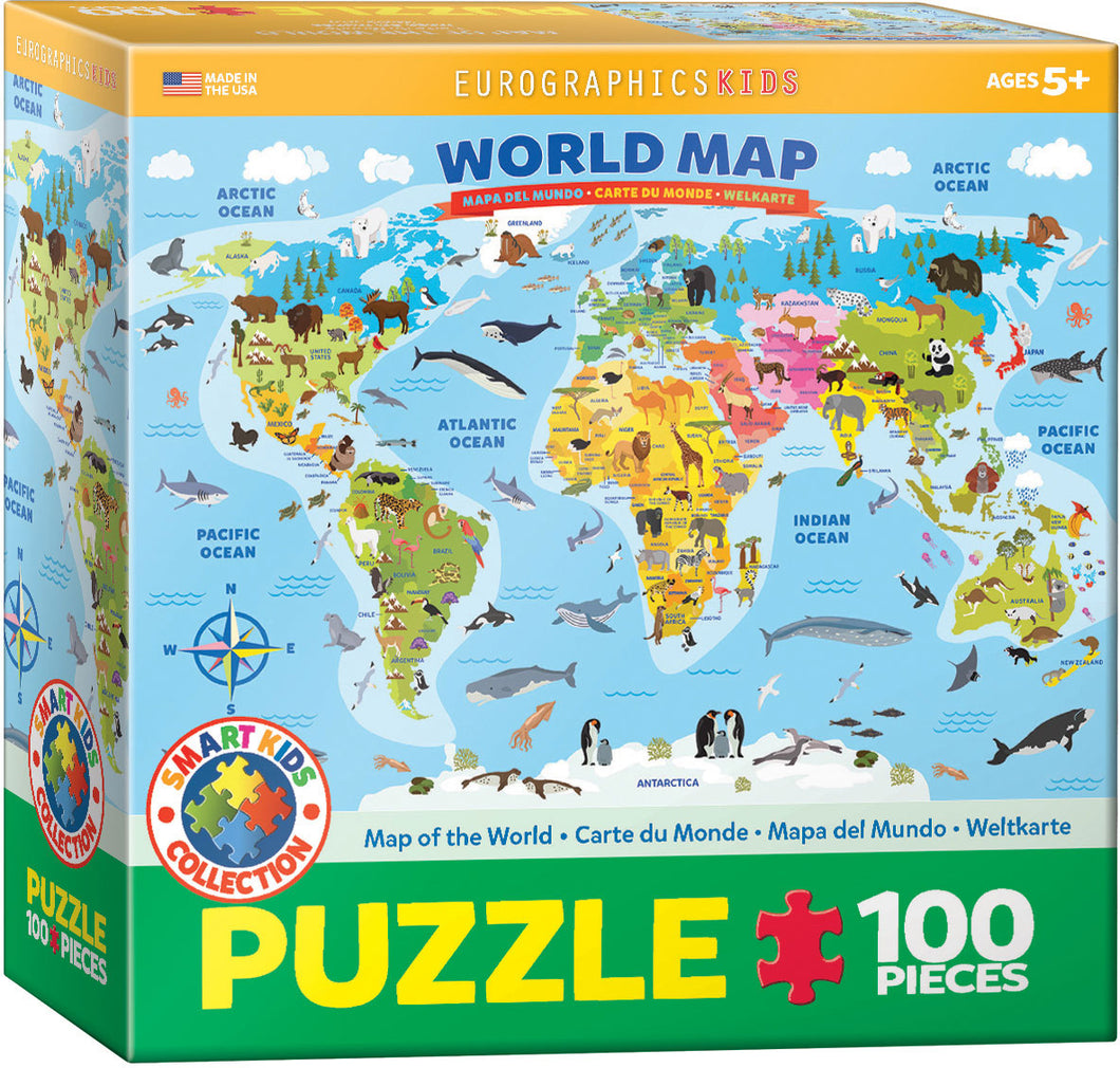 Eurographics 100 Piece Jigsaw Puzzle - Illistrated Map of the World
