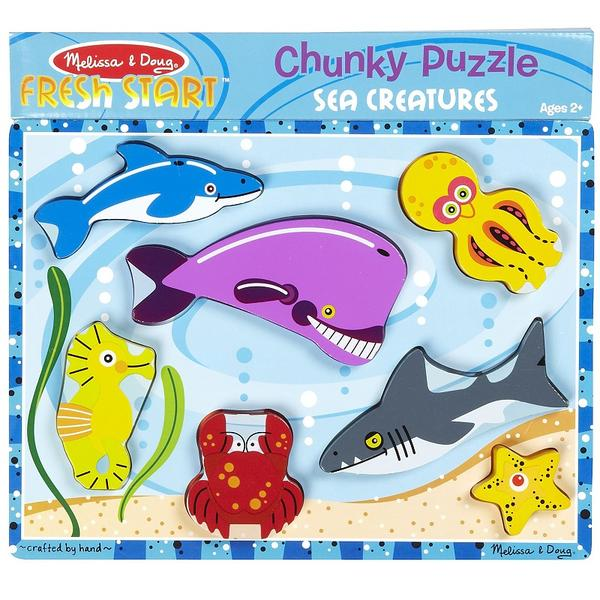 Melissa and Doug Wooden Chunky Puzzle - Sea Creatures