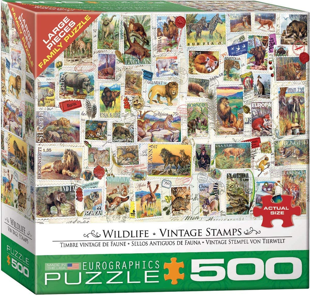 Eurographics 500 Large Piece Jigsaw Puzzle - Wildlife Vintage Stamps