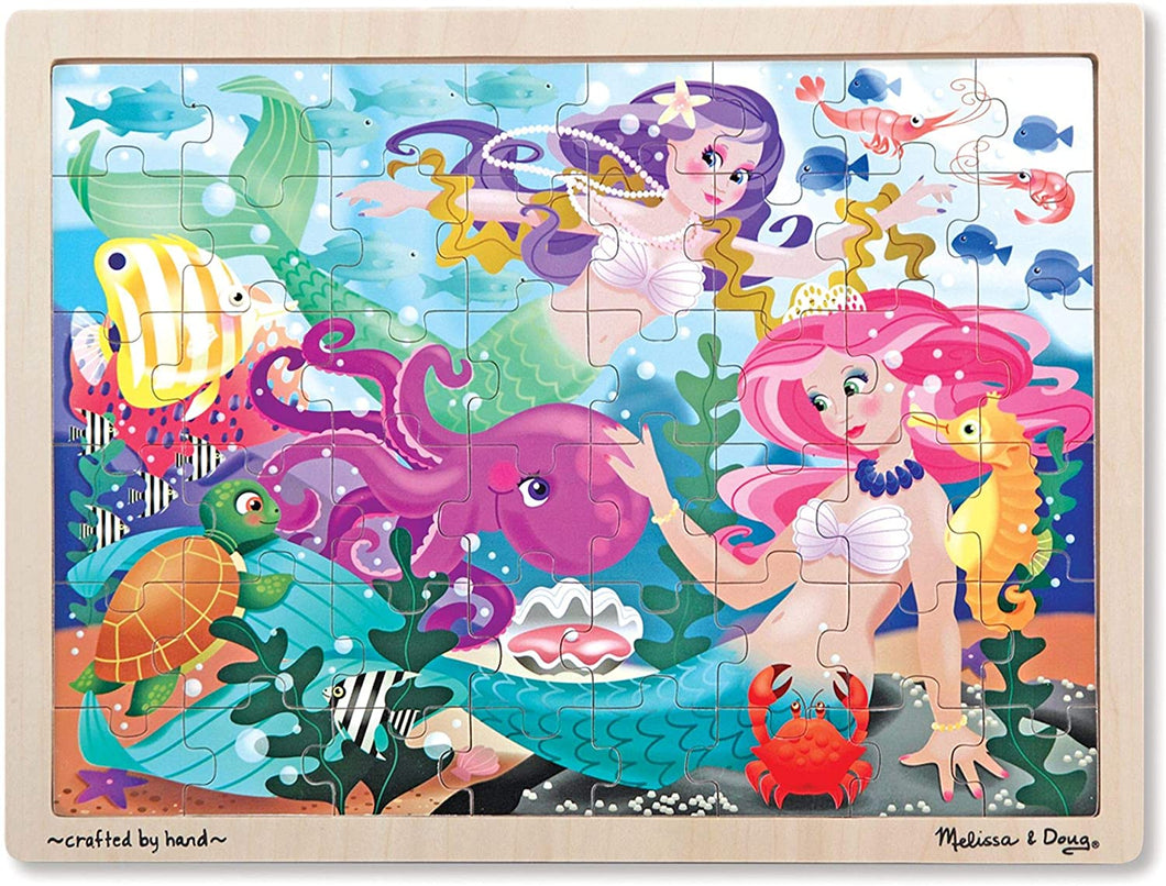 Melissa and Doug 48 Piece Wooden Tray Jigsaw Puzzle - Mermaids