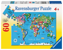 Load image into Gallery viewer, Ravensburger 60 Piece Jigsaw Puzzle - World Map
