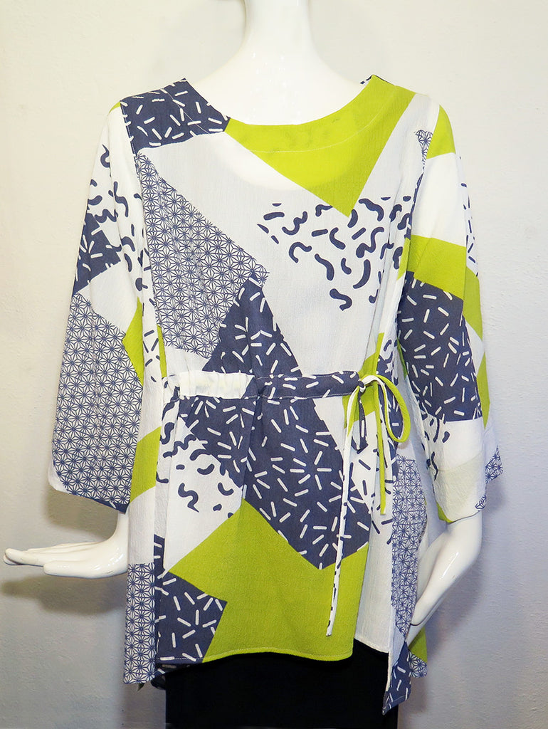 Moonlight - Mixed Print Tie Tunic - Artemisia Artwear