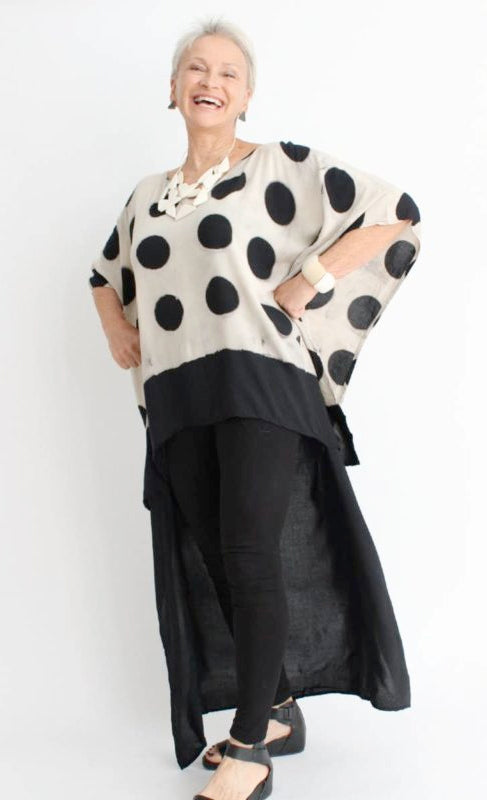 Sylca Designs - Polka Dot Hi-Lo Top - Artemisia Artwear