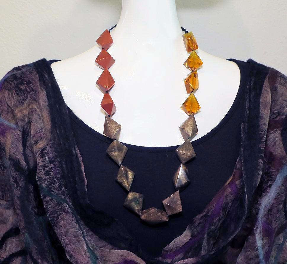 Sylca Designs - Tri Color Resin Bead Necklace - Artemisia Artwear
