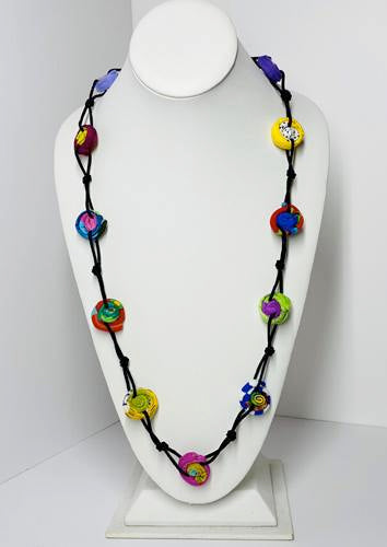 Ficklesticks - Knotted Millefiori Necklace - Artemisia Artwear