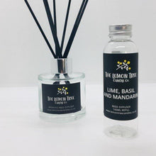 Load image into Gallery viewer, Lime, Basil & Mandarin Black Reed Diffuser - The Lemon Tree Candle Company