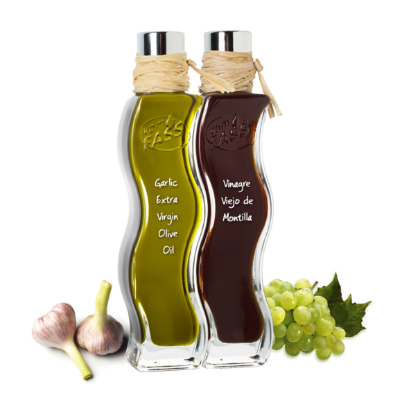 Garlic Extra Virgin Olive Oil & Vinagre Viejo de Montilla Old Spanish Wine Vinegar Quadra Onda Set