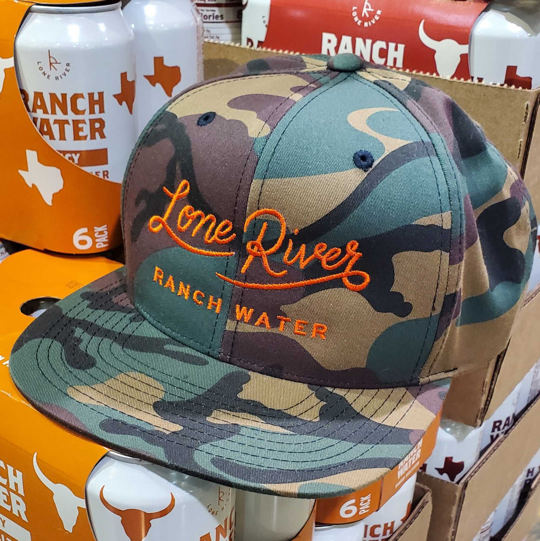 Retro Lone River Ranch Water Script Snapback Hat - Limited Edition Camo