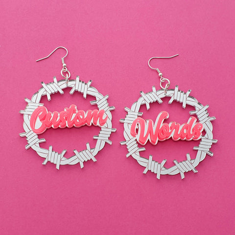 Barbed Wire Name Earrings