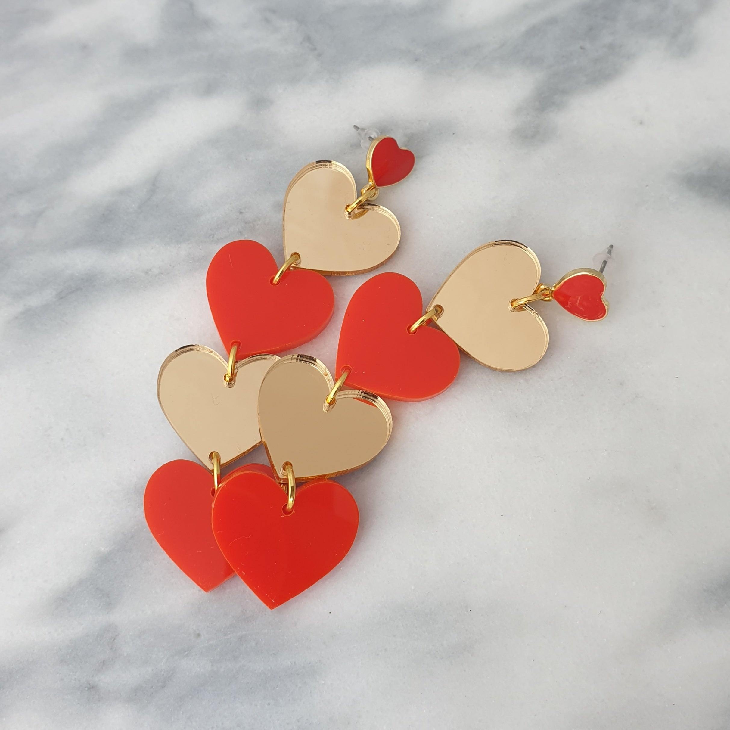 Red & Gold Heart Earrings
