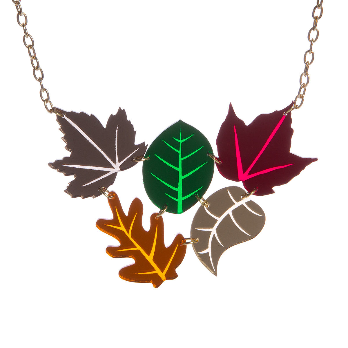 Sugar & Vice Autumn Leaves Cluster Necklace