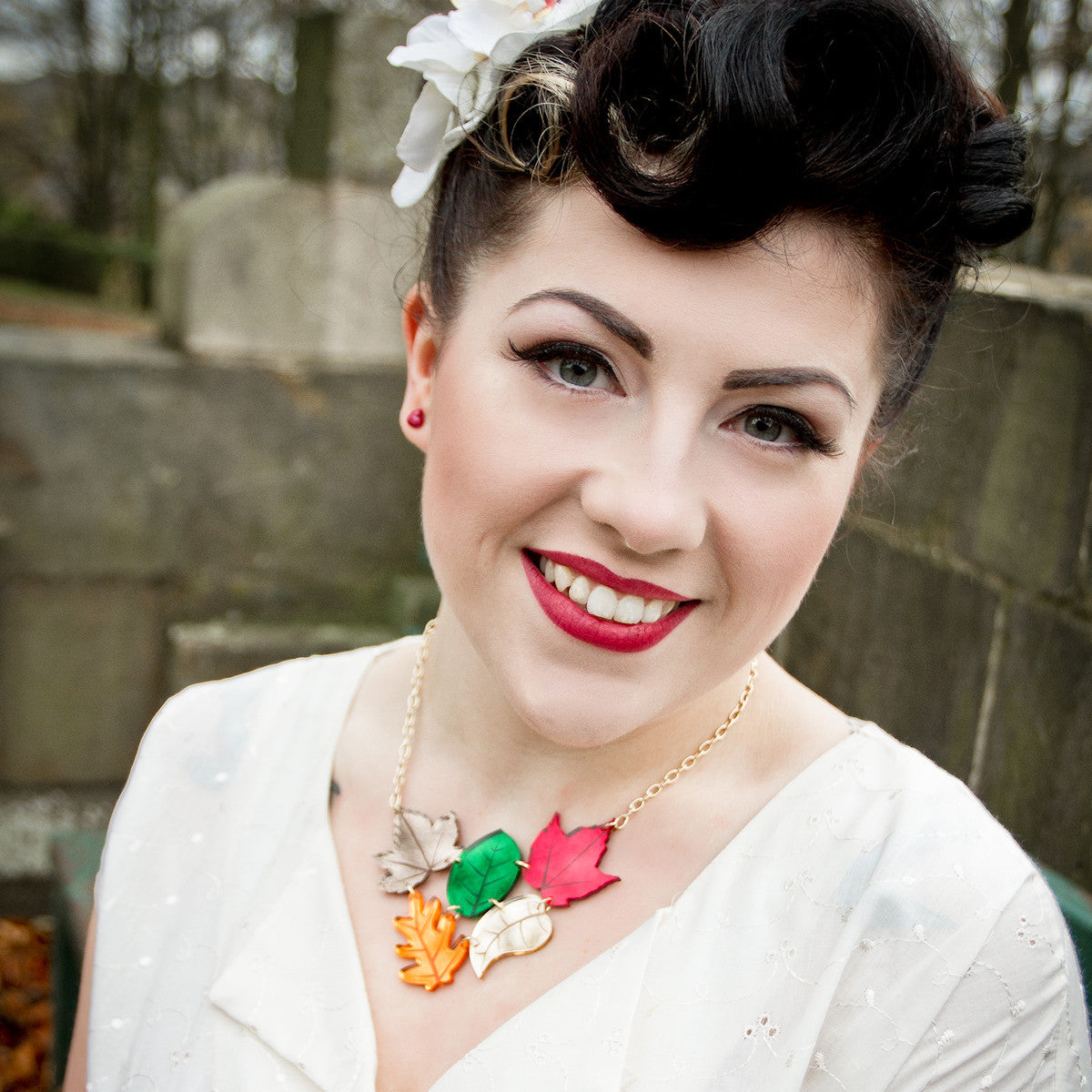 Sugar & Vice Autumn Leaves Cluster Necklace modelled