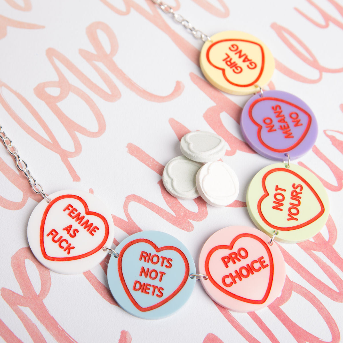 Sugar & Vice Feminist Love Hearts Necklace 2