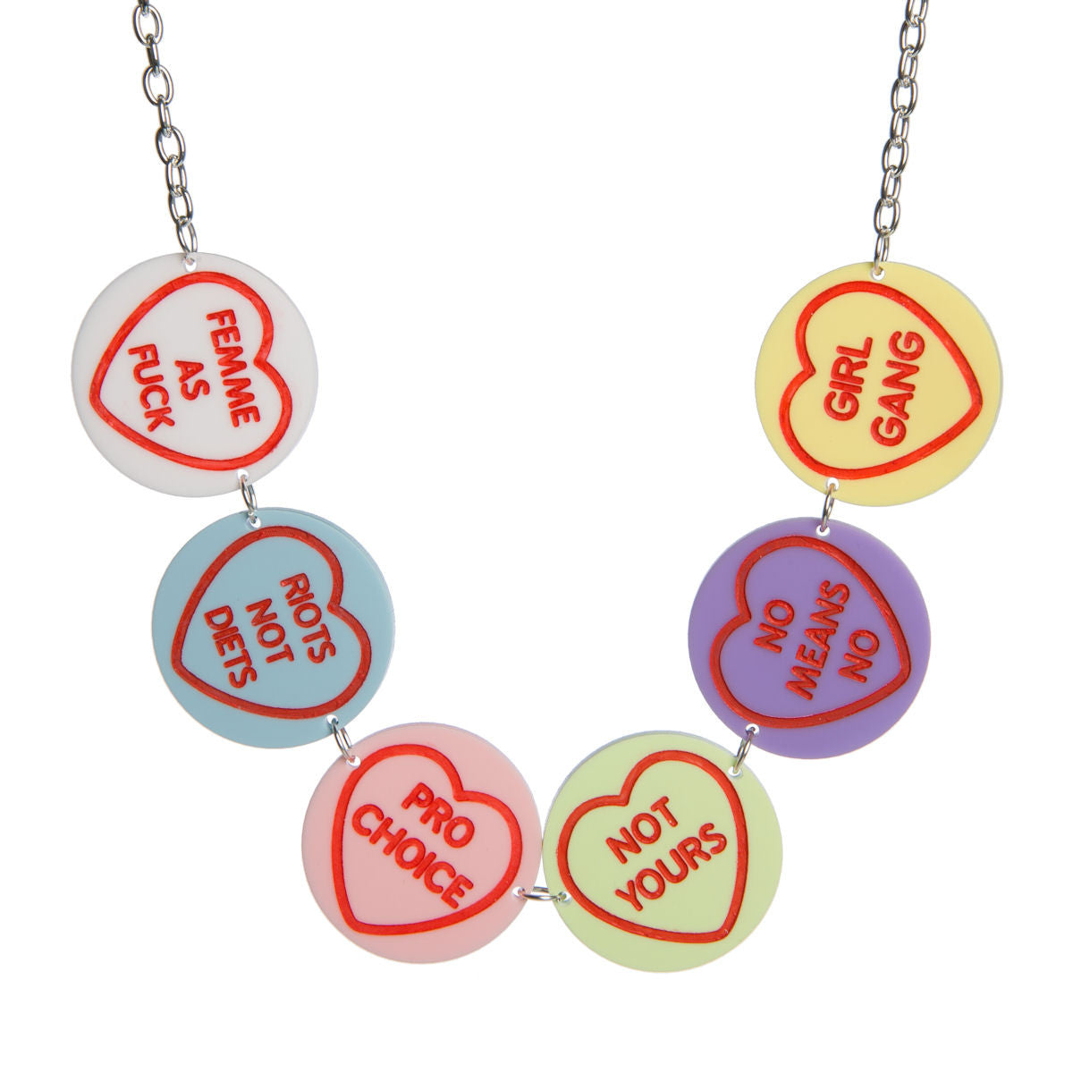 Sugar & Vice Feminist Love Hearts Necklace
