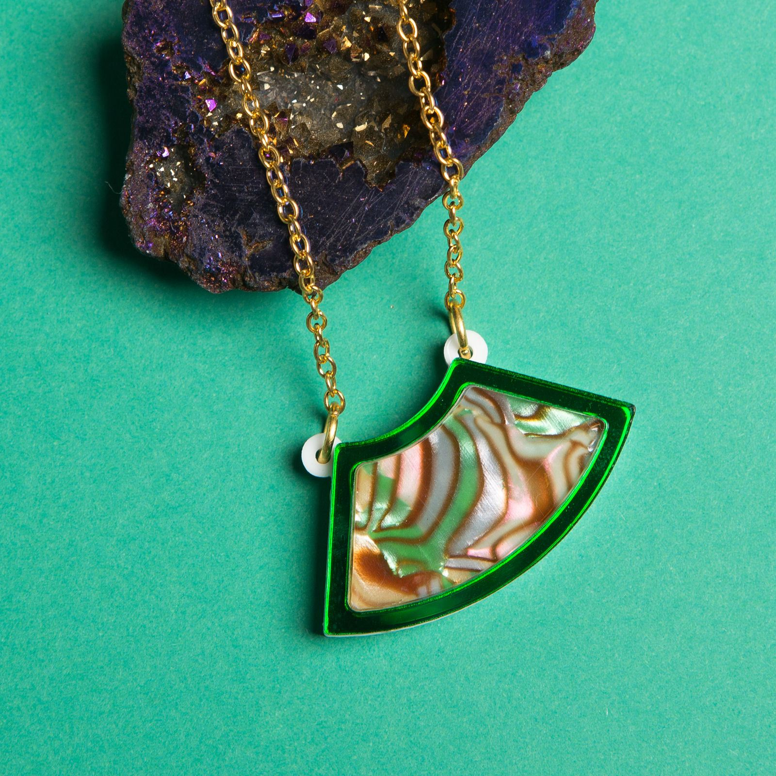 Sugar & Vice Green Marble necklace