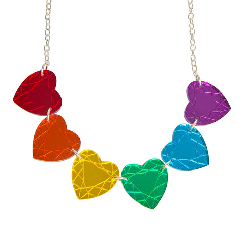 Rainbow Heart Gem Necklace