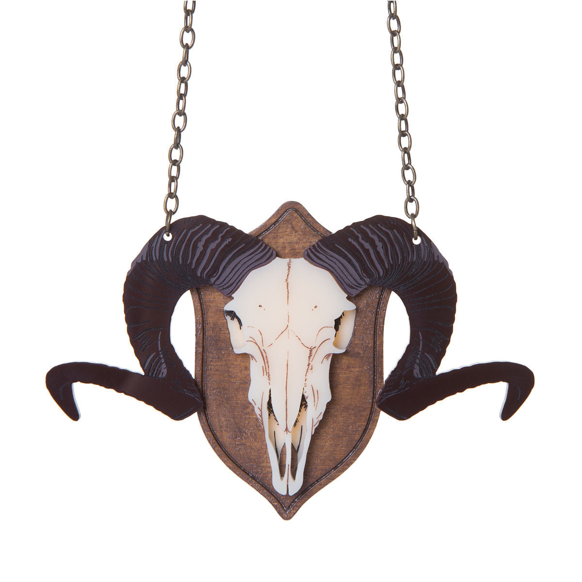 Sugar & Vice Mounted Ram Skull Necklace