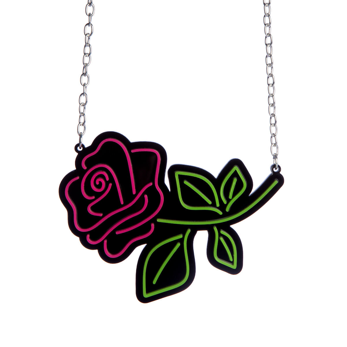 Sugar & Vice Neon Rose Necklace