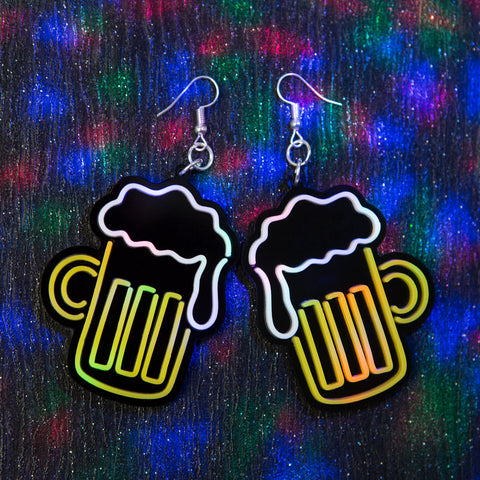 Neon Beer Earrings