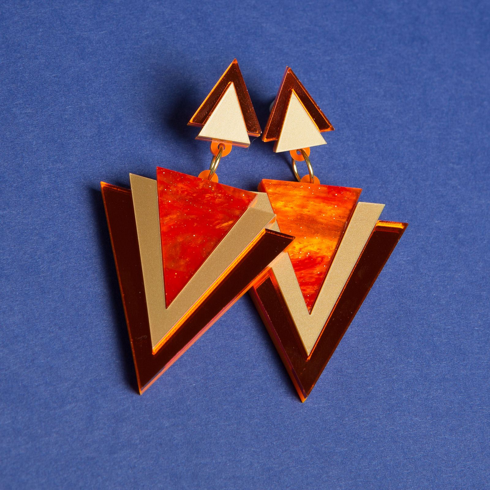 Sugar & Vice Orange Triangle Earrings 2
