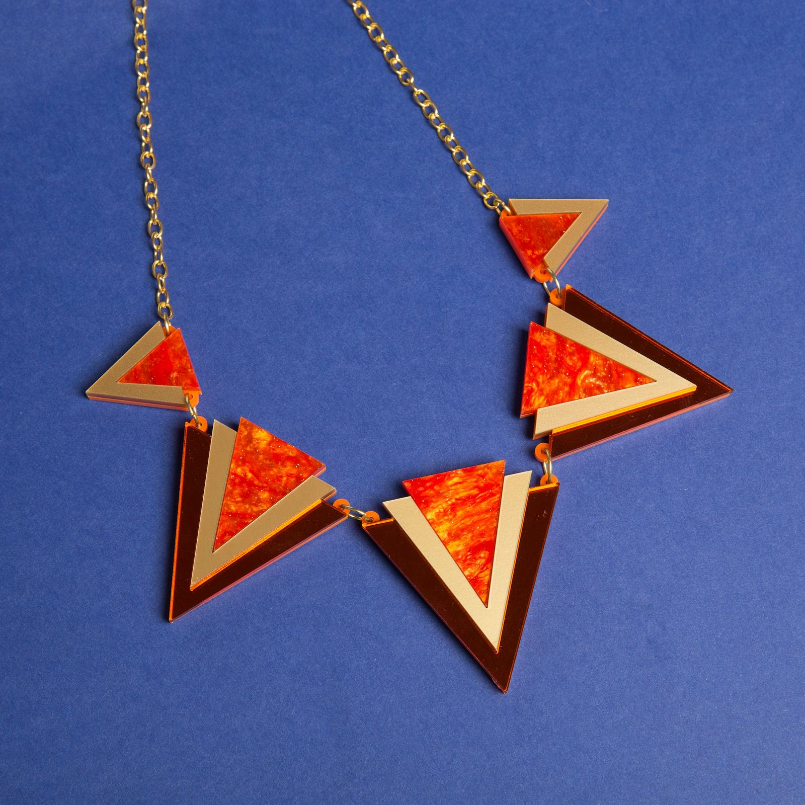 Sugar & Vice Orange Triangle Statement necklace