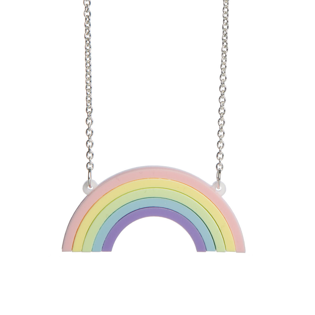 cube necklace rainbow geo