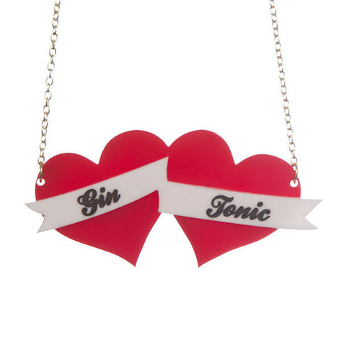 Personalised Double Heart Banner Necklace