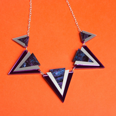 Purple Triangle Statement Necklace