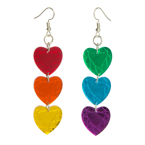 Rainbow Heart Gem Earrings