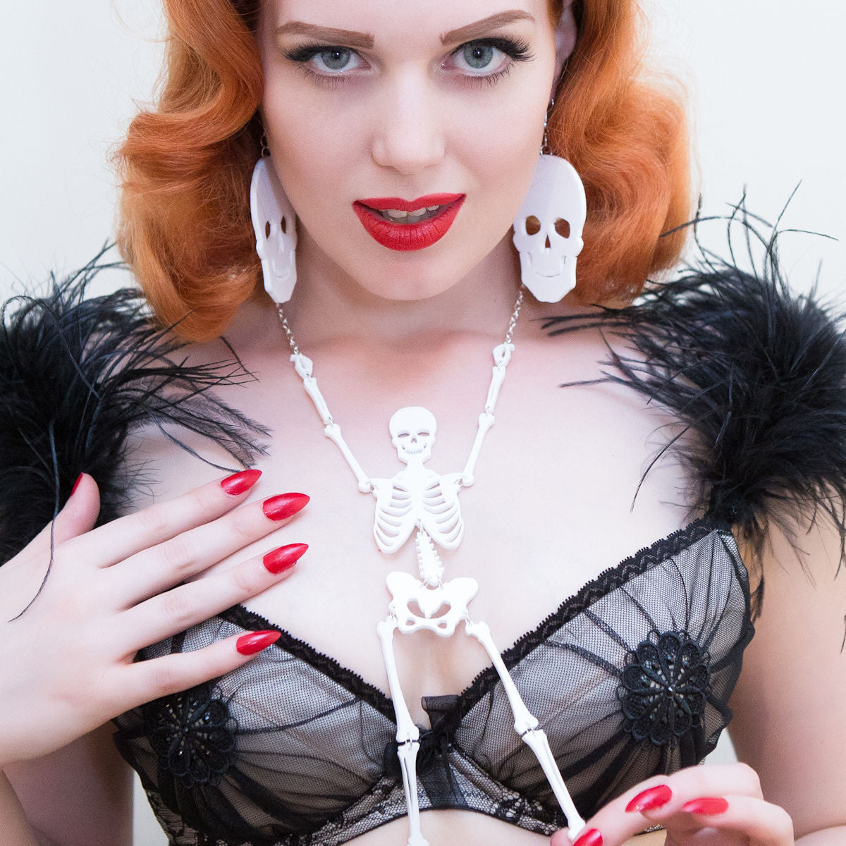 Sugar & Vice Skeleton Necklace Modelled