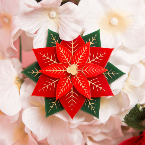 Poinsettia Brooch