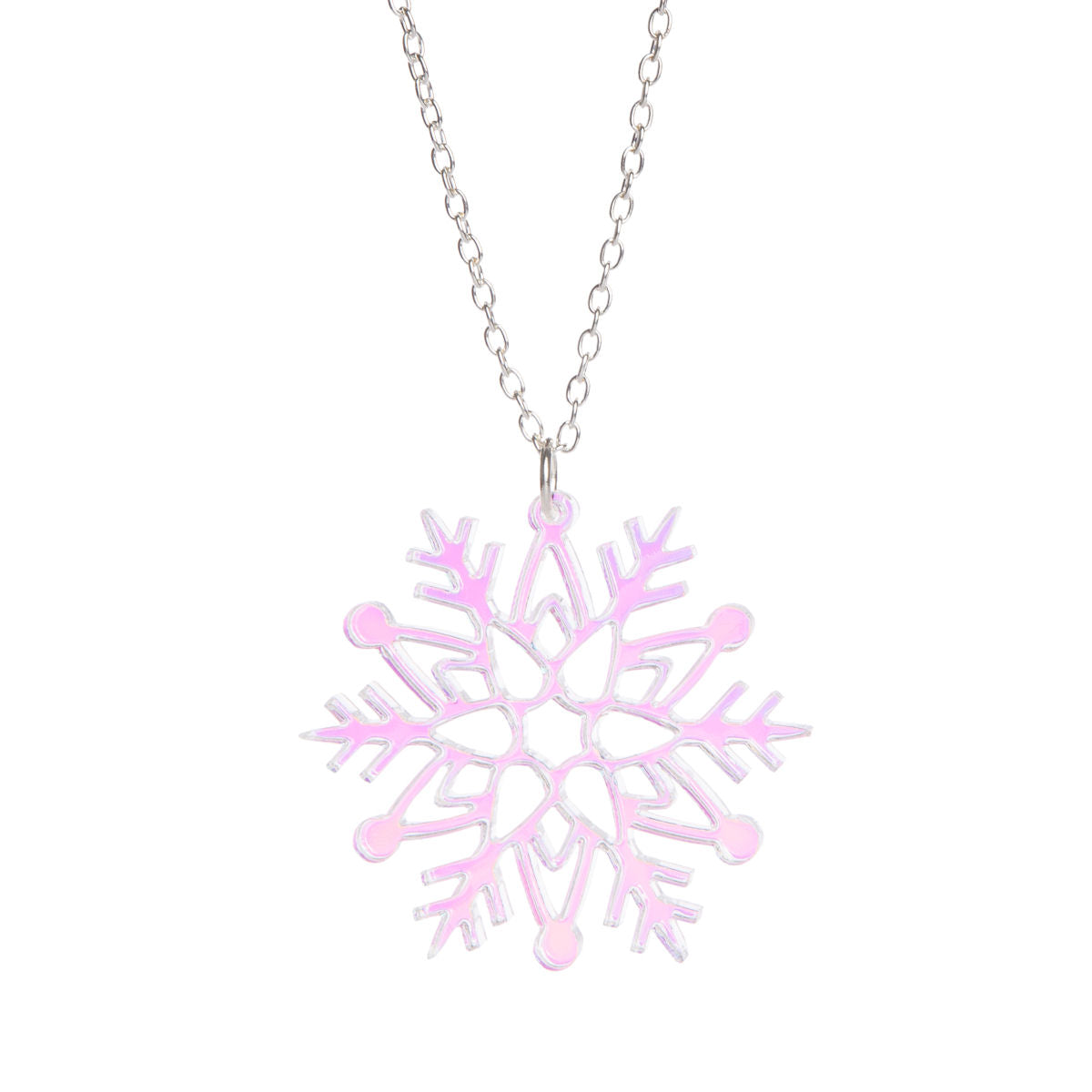 oioi jewelry pink crystal necklace snowflake en web