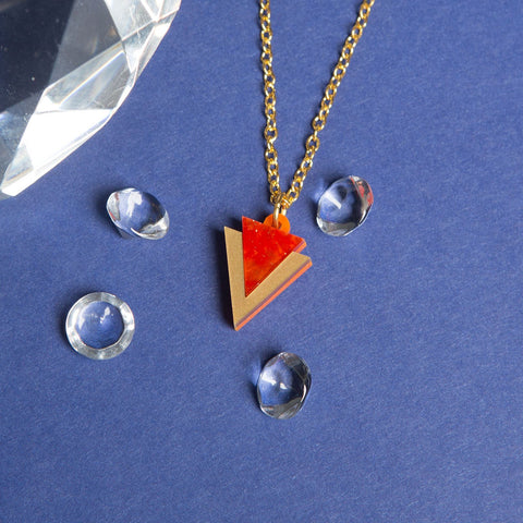 Mini Orange Triangle Necklace