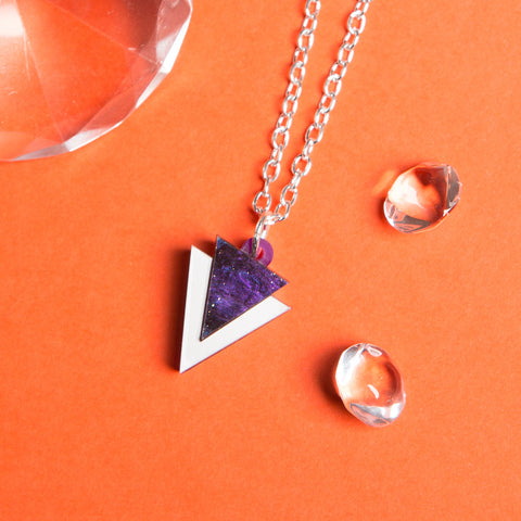 Mini Purple Triangle Necklace