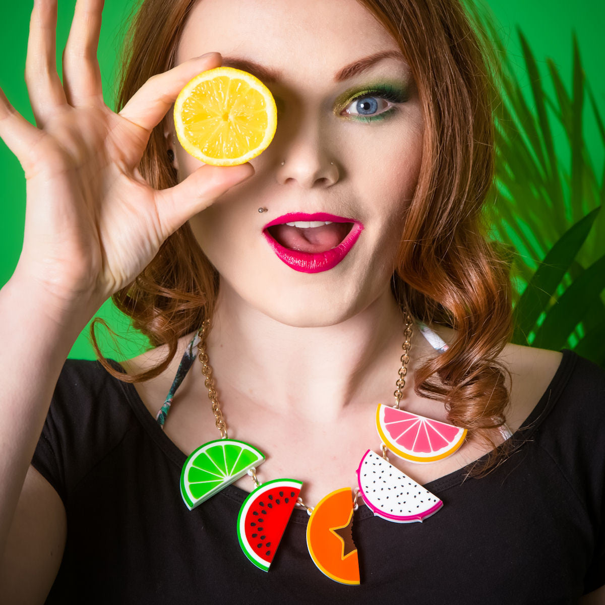Sugar & Vice Tropical Fruit Necklace Modelled