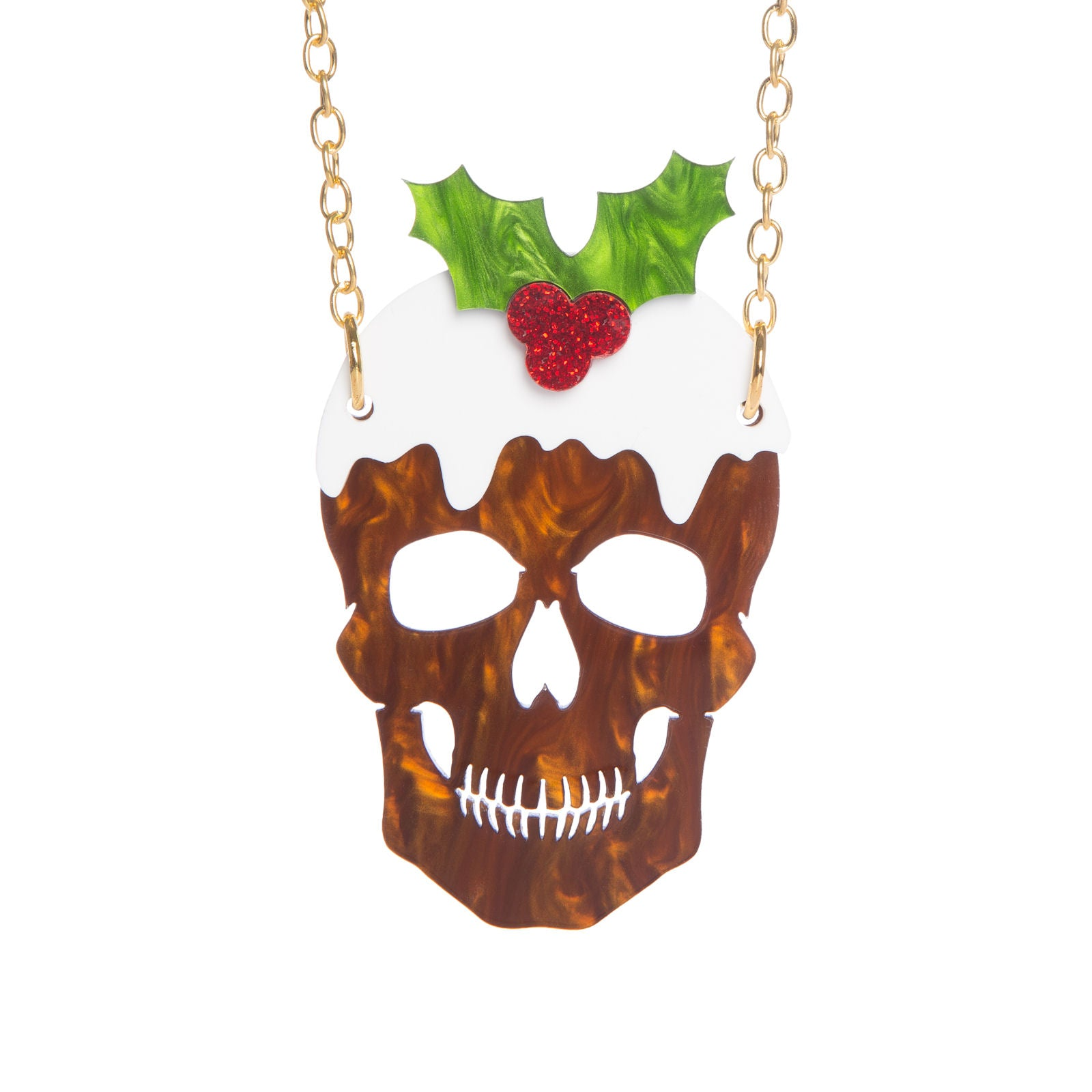 Christmas Skull Pudding Necklace
