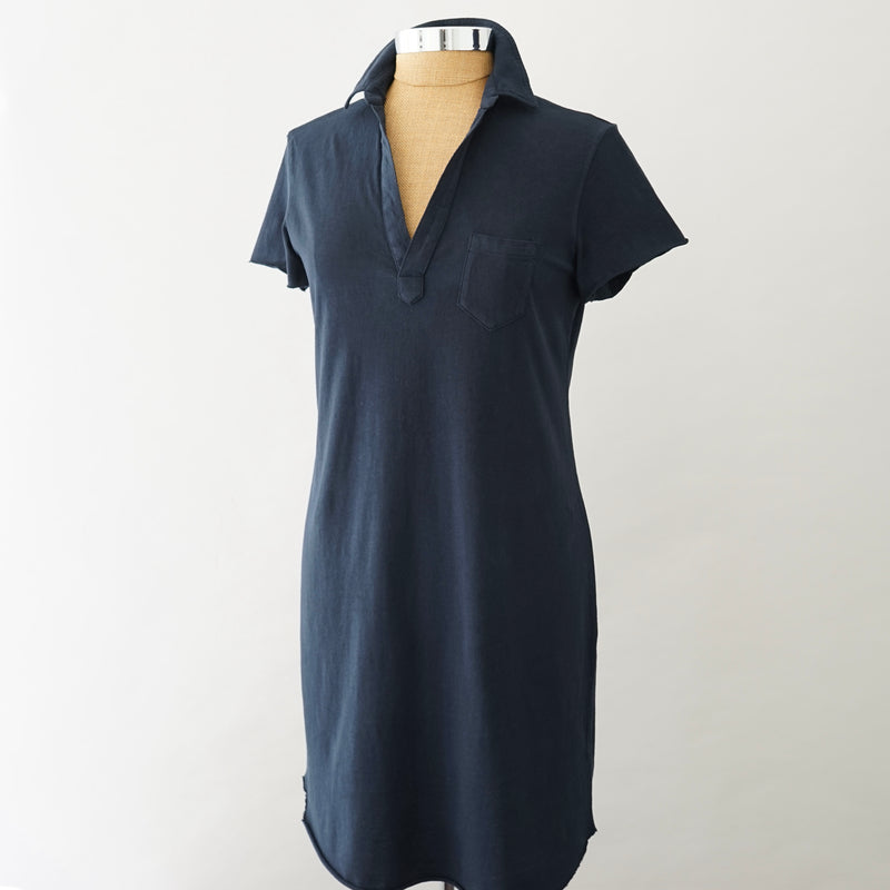 Frank and Eileen Navy Jersey Polo Dress