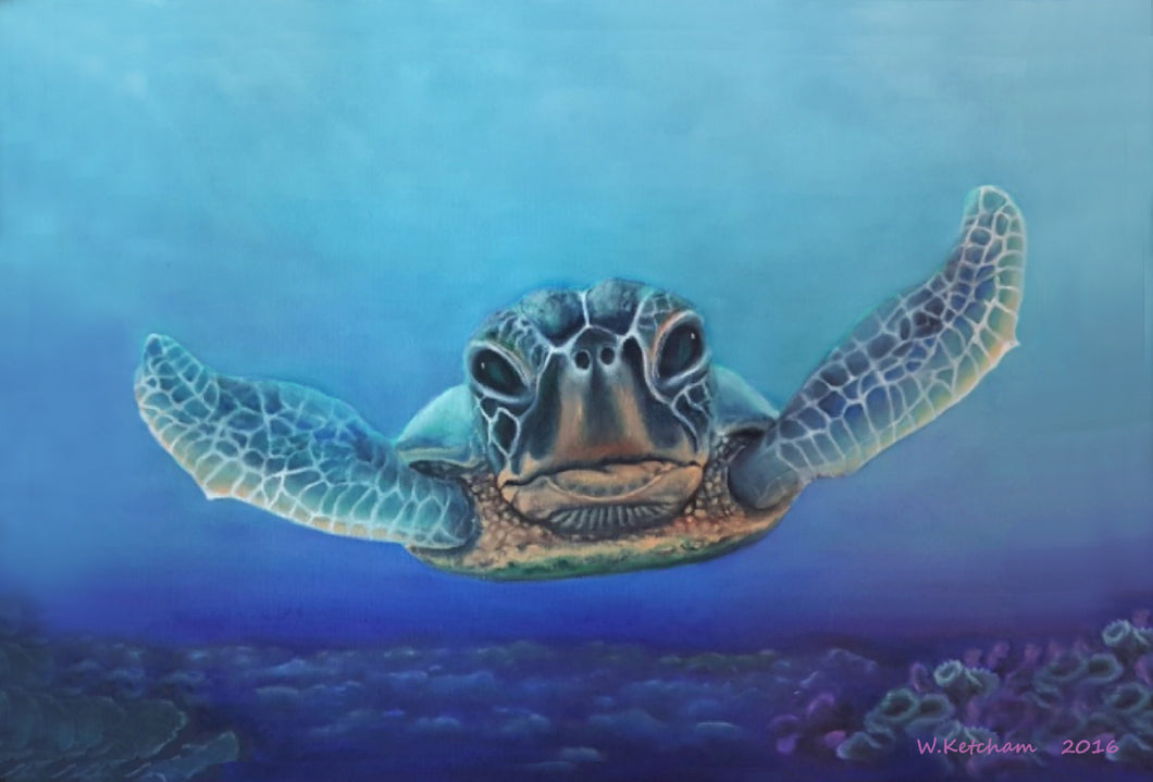 Sea Turtle Print - Deep Dive