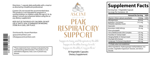 General Health - Peak Respiratory Support