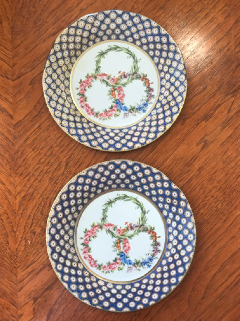 Set of 2 Tin Plates, Blue & Gold