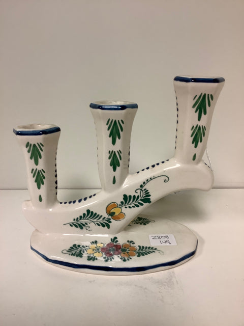 Painted Ceramic Candleholder