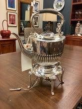 Load image into Gallery viewer, Silver Plated Teapot with Warmer and Black Embellishments